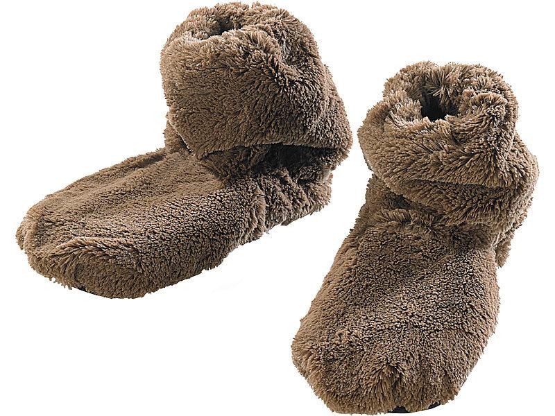 infactory Pantoffel: Aufwärmbare Flausch-Pantoffeln mit Leinsamen-Füllung, Größe 39-41 (Aufwärmbare Pantoffeln für Winter)