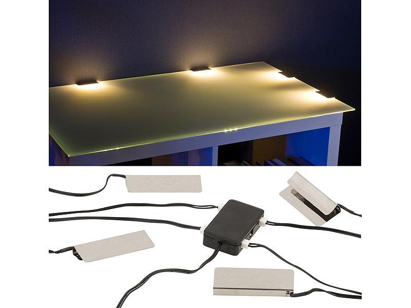 lunartec schrankbeleuchtung led glasbodenbeleuchtung 4 klammern mit 12 warmwei en leds. Black Bedroom Furniture Sets. Home Design Ideas