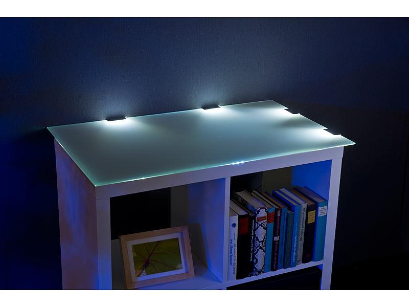 lunartec led beleuchtung led glasbodenbeleuchtung 4 klammern mit 12 tageslichtwei en leds. Black Bedroom Furniture Sets. Home Design Ideas