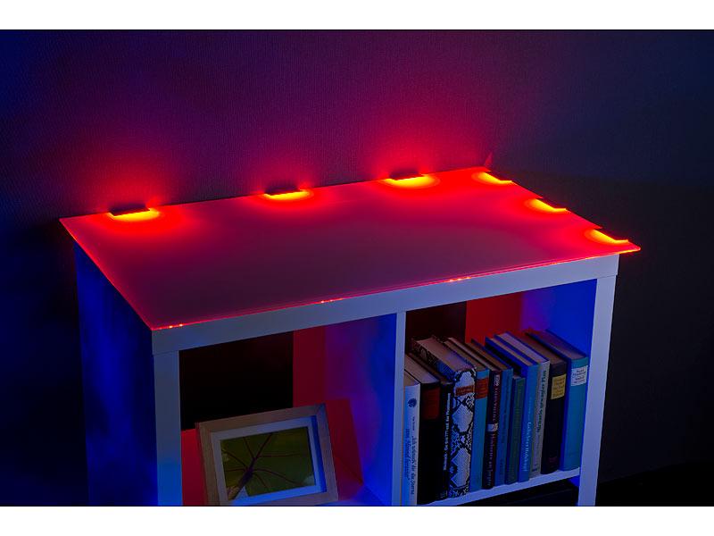 lunartec schrankbeleuchtung led glasbodenbeleuchtung mit fernbedienung 6 klammern mit 18 rgb. Black Bedroom Furniture Sets. Home Design Ideas