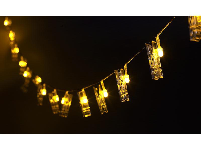 lunartec led lichtband led foto clips lichterkette mit 20 klammern batteriebetrieben 6 m led. Black Bedroom Furniture Sets. Home Design Ideas