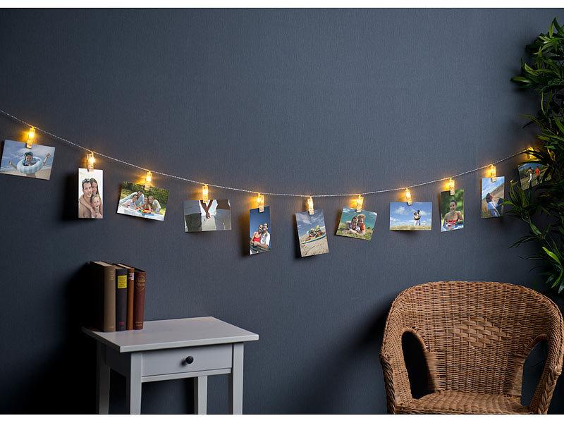 ... Lunartec LED Foto Clips Lichterkette Mit 20 Klammern,  Batteriebetrieben, 6 M ...
