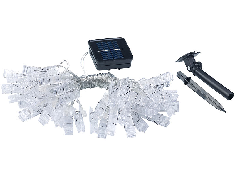 lunartec lichtketten led foto clips lichterkette mit 40 klammern solar betrieben 10 m solar. Black Bedroom Furniture Sets. Home Design Ideas