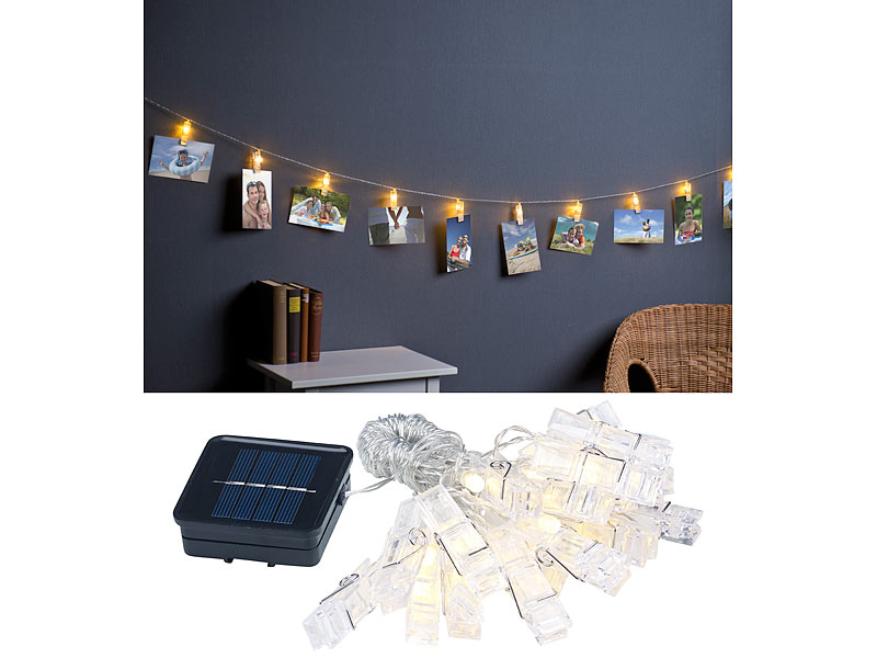 lunartec led solarlichterkette led foto clips. Black Bedroom Furniture Sets. Home Design Ideas