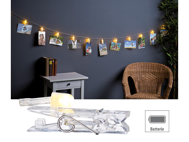 lunartec led partylichterkette led foto clips. Black Bedroom Furniture Sets. Home Design Ideas