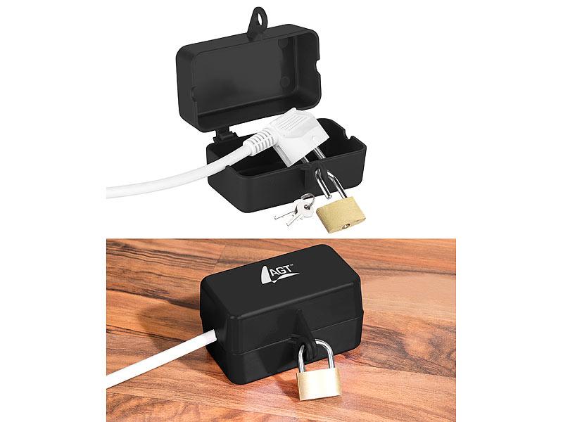 AGT Steckerschutz: Abschließbare Stromstecker-Schutzbox mit ...