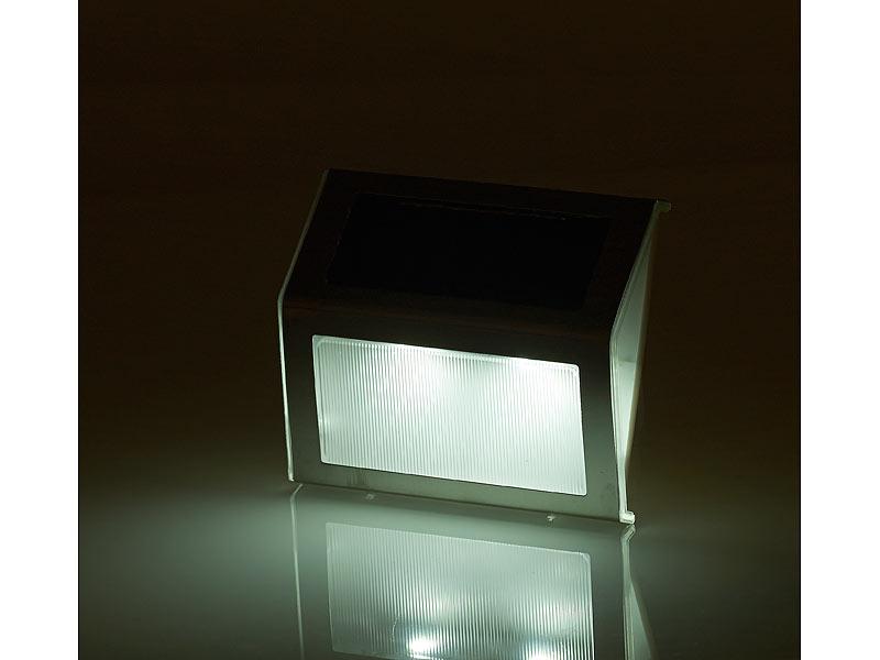 lunartec aussenlampen 4er set solar led wand treppen leuchten f r au en edelstahl 20 lm. Black Bedroom Furniture Sets. Home Design Ideas
