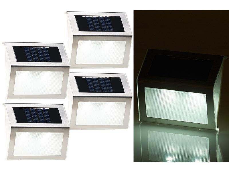 lunartec wandleuchten 4er set solar led wand treppen. Black Bedroom Furniture Sets. Home Design Ideas