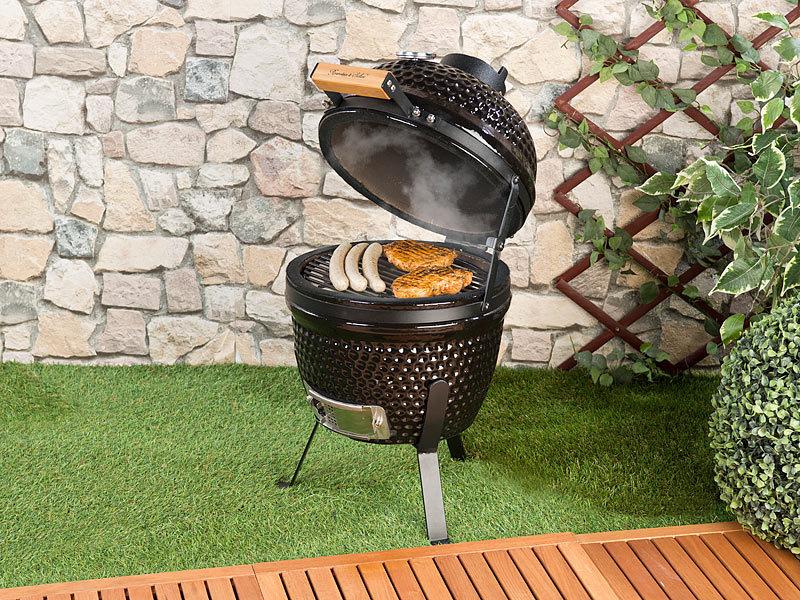 rosenstein s hne keramik grill 2in1 kamado keramik kugelgrill smoker thermometer l ftung. Black Bedroom Furniture Sets. Home Design Ideas