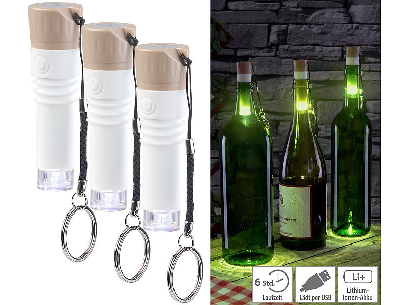 lunartec bottle light 3er set led weinflaschen lichter. Black Bedroom Furniture Sets. Home Design Ideas