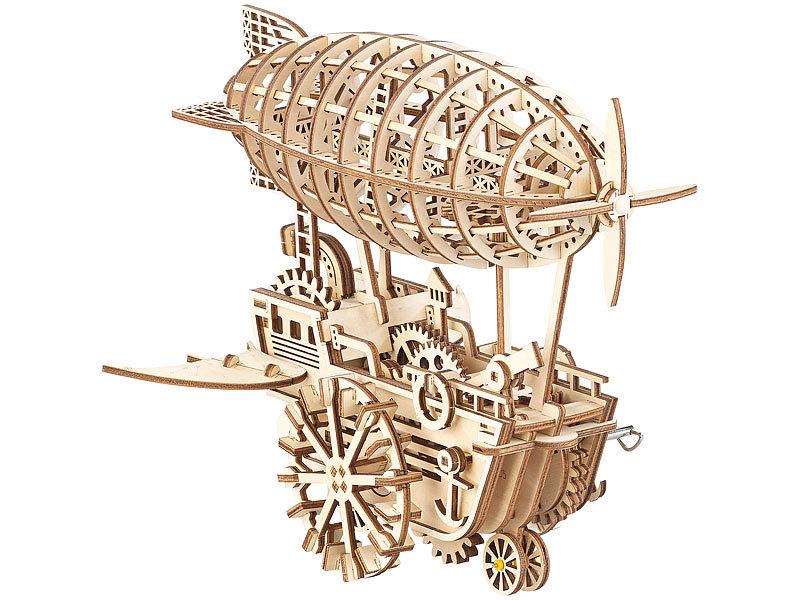 Puzzle-Spielzeug: Simulus Aufziehbares Holz-Luftschiff im Steampunk-Stil, 349-teiliger Bausatz Bild 1