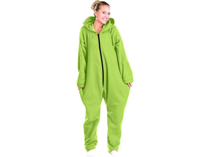 00409d1430 Jumpsuit mit Kapuze: PEARL Jumpsuit aus flauschigem Fleece, grün, Größe XL  Bild 1