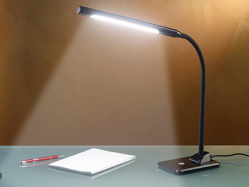 lunartec lampe schreibtisch led schreibtischlampe 7 w mit langem schwanenhals schwarz led. Black Bedroom Furniture Sets. Home Design Ideas