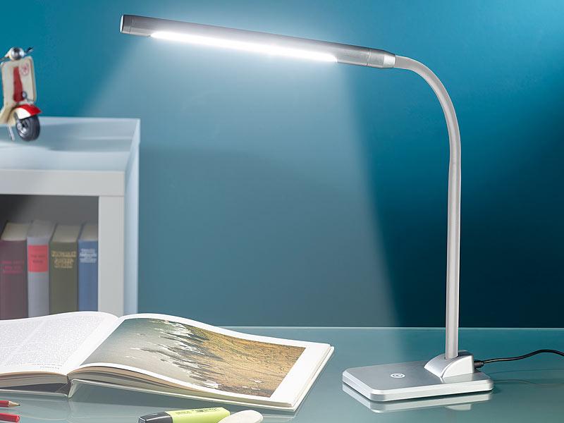 lunartec led schreibtischlampe 7 w mit langem schwanenhals silbern. Black Bedroom Furniture Sets. Home Design Ideas