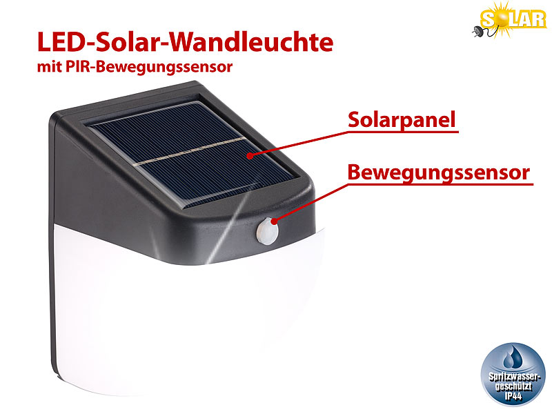 lunartec led solar wandleuchte mit pir bewegungssensor 30 lumen 1 watt ip44. Black Bedroom Furniture Sets. Home Design Ideas