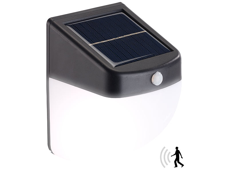 lunartec gartenleuchten led solar wandleuchte mit pir bewegungssensor 30 lumen 1 watt ip44. Black Bedroom Furniture Sets. Home Design Ideas