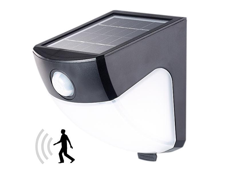 lunartec solar aussenlampen solar led wandleuchte pir sensor 4 leds 220 lm 2 w ip44. Black Bedroom Furniture Sets. Home Design Ideas
