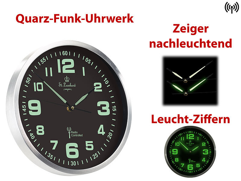 st leonhard funkuhr funk wanduhr mit quarz uhrwerk nachleuchtenden ziffern und zeigern. Black Bedroom Furniture Sets. Home Design Ideas