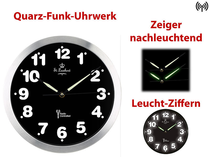 st leonhard funkuhren funk wanduhr mit wei er led zifferbeleuchtung und quarz uhrwerk design. Black Bedroom Furniture Sets. Home Design Ideas