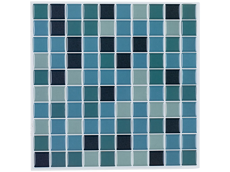 infactory klebefliese selbstklebende 3d mosaik fliesenaufkleber aqua 26 x 26 cm 15er set. Black Bedroom Furniture Sets. Home Design Ideas