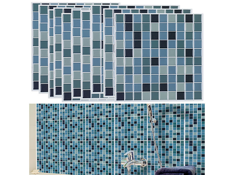 infactory selbstklebende 3d mosaik fliesenaufkleber aqua 26 x 26 cm 3er set. Black Bedroom Furniture Sets. Home Design Ideas