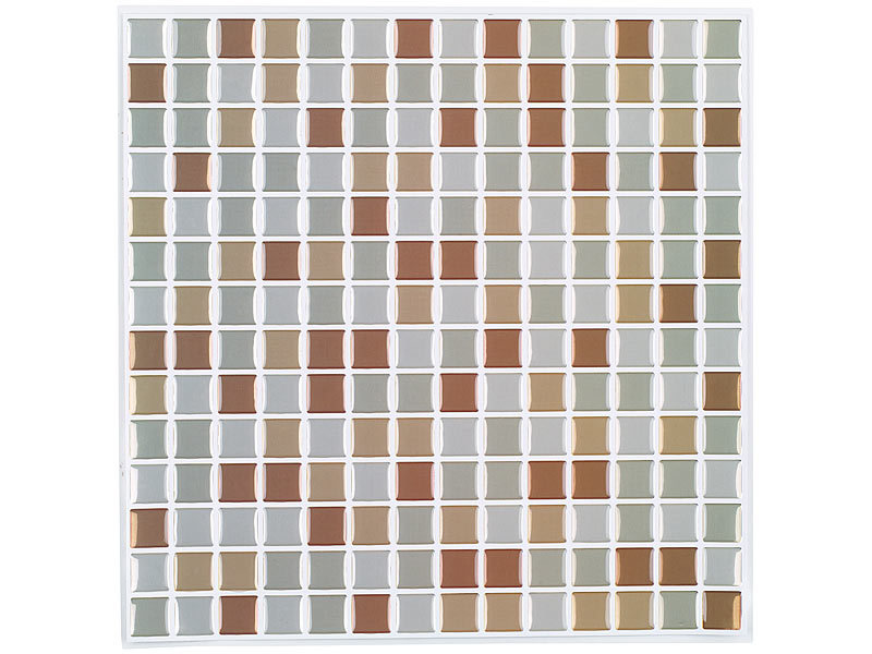 infactory selbstklebende 3d mosaik fliesenaufkleber bronze 26 x 26 cm 3er set. Black Bedroom Furniture Sets. Home Design Ideas