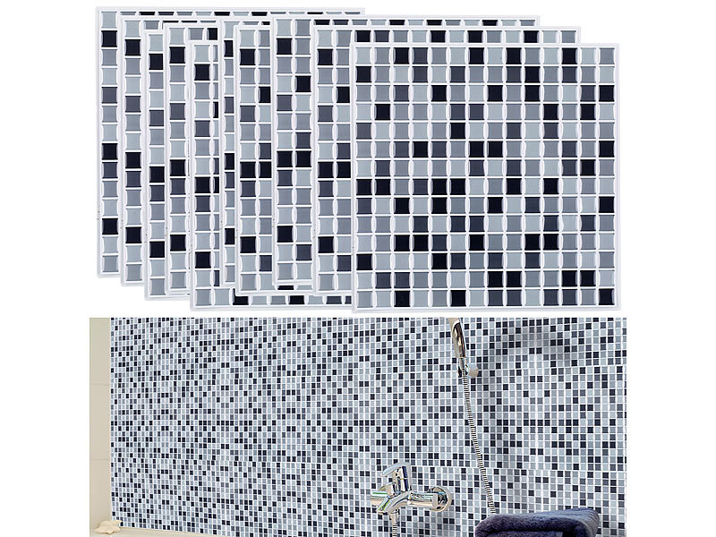 infactory selbstklebende fliesen selbstklebende 3d mosaik fliesenaufkleber dezent 26x26 cm. Black Bedroom Furniture Sets. Home Design Ideas