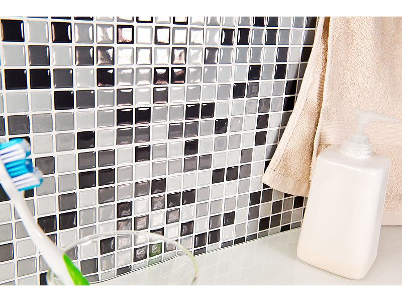 infactory fliesen selbstklebende 3d mosaik fliesenaufkleber dezent 26 x 26 cm 3er set. Black Bedroom Furniture Sets. Home Design Ideas