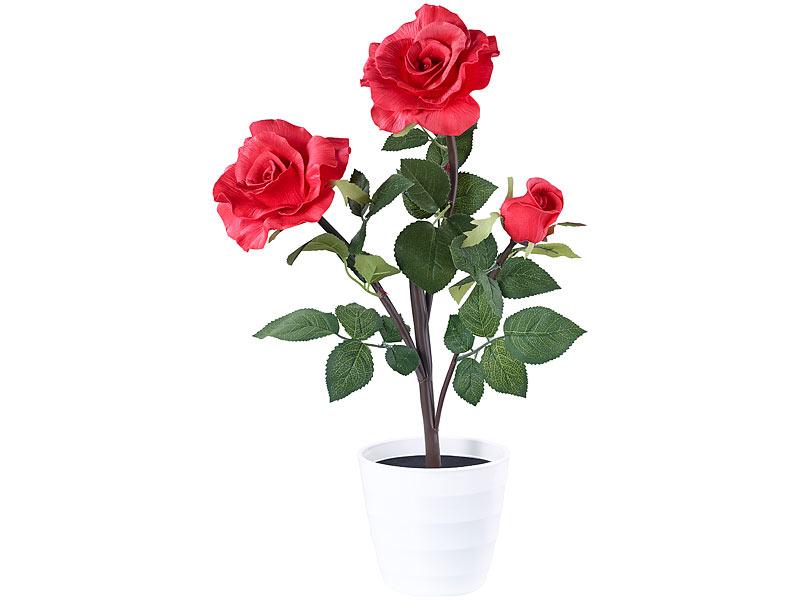 lunartec led rose led rosenstrauch real touch mit 3 led bl ten 50 cm rot blume. Black Bedroom Furniture Sets. Home Design Ideas