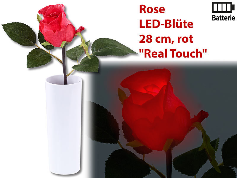 lunartec blumen led rose real touch mit led bl te 28 cm rot led blume. Black Bedroom Furniture Sets. Home Design Ideas