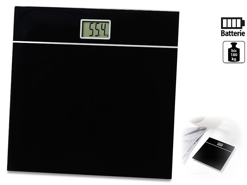Personenwaage digital Glas bis 150 kg schwarz Körperwaage Glaswaage Waage