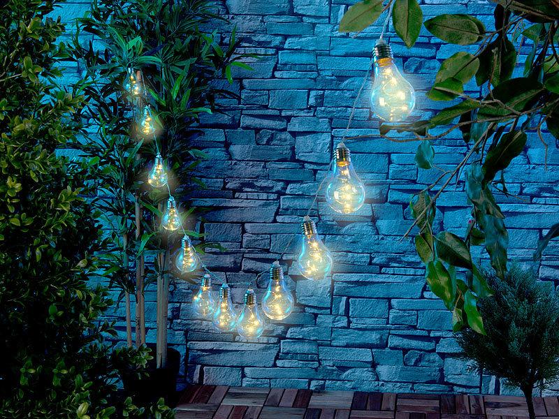 Lunartec Solar Licht: Solar-LED-Lichterkette im Glühbirnen-Look, 12 ...