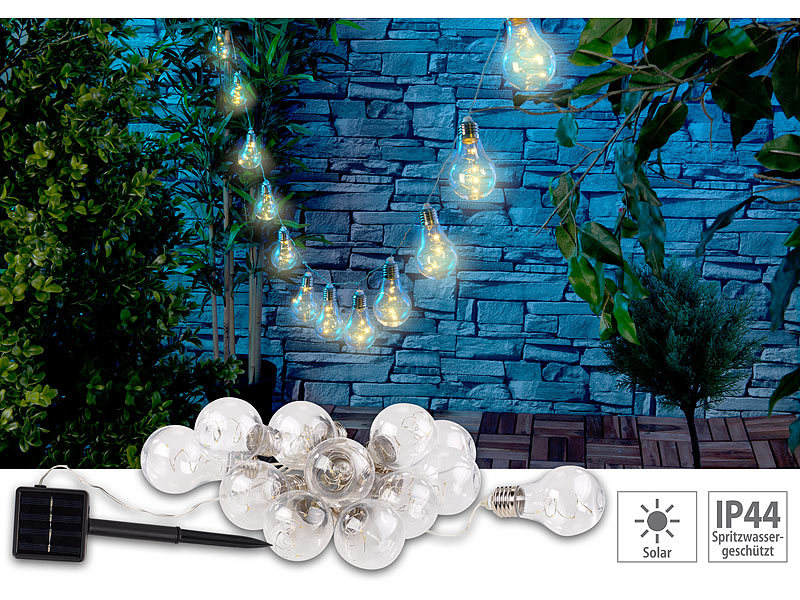 lunartec lichterkette aussen solar led lichterkette im gl hbirnen look 12 birnen 8 5 m 2er. Black Bedroom Furniture Sets. Home Design Ideas