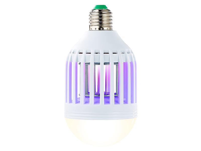 exbuster insektenlampen 2in1 uv insektenkiller und led lampe e27 9 watt 550 lumen warmwei. Black Bedroom Furniture Sets. Home Design Ideas