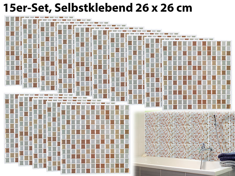infactory sticker selbstklebende 3d mosaik fliesenaufkleber bronze 26x26 cm 15er set. Black Bedroom Furniture Sets. Home Design Ideas