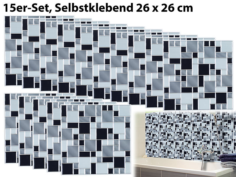 infactory fliesenfolie k che selbstklebende 3d mosaik fliesenaufkleber modern 26x26 cm 15er. Black Bedroom Furniture Sets. Home Design Ideas