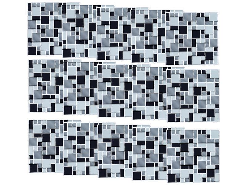 Infactory fliesenfolie k che selbstklebende 3d mosaik fliesenaufkleber modern 26x26 cm 15er - Selbstklebende fliesenfolie ...