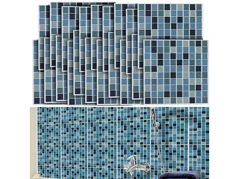 infactory mosaikfliesen selbstklebende 3d mosaik fliesenaufkleber aqua 26 x 26 cm 15er set. Black Bedroom Furniture Sets. Home Design Ideas