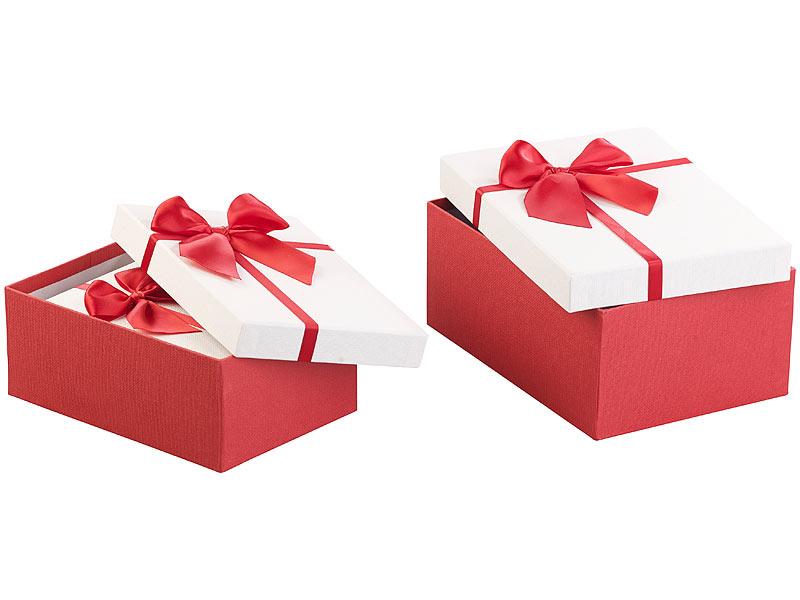 your design geschenkboxen 6er set edle geschenk boxen mit roter schleife 3 verschiedene gr en. Black Bedroom Furniture Sets. Home Design Ideas