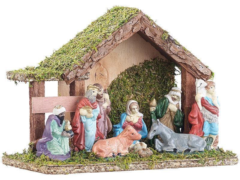 Bilder Krippe Weihnachten.Britesta Krippe Weihnachten Klassische Holz Weihnachtskrippe