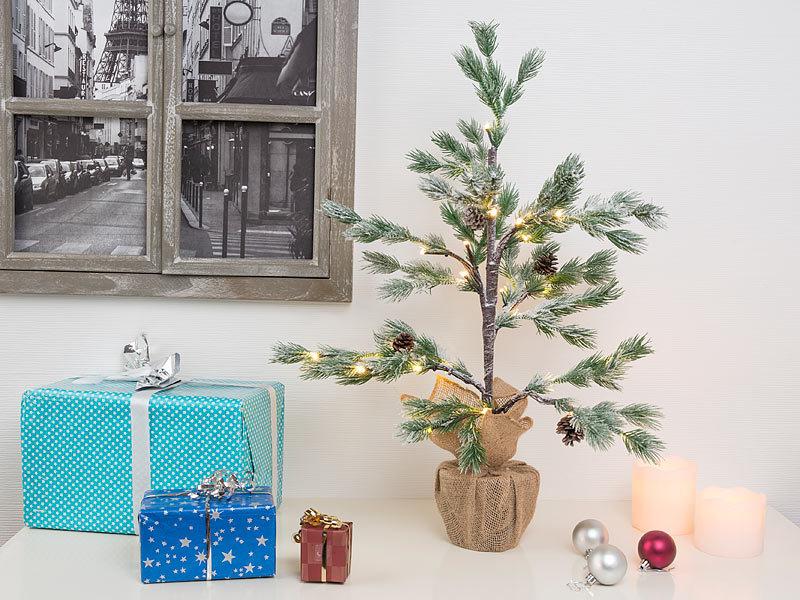 Britesta tannenbaum beleuchtung 2er set deko nadelb umchen im topf 24 leds kunstschnee - Weihnachts deko im flur ...