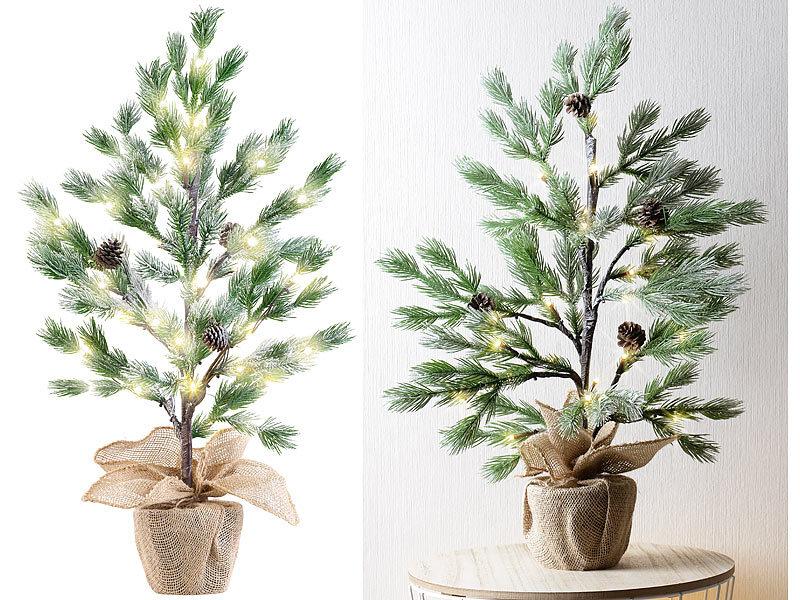 Künstlicher Tannenbaum Im Topf.Britesta Weihnachtsbaum Deko Nadelbäumchen Im Topf Mit 24 Leds
