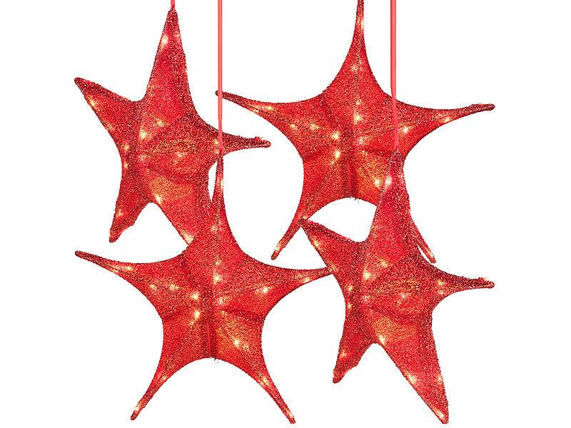 Britesta Deko-Sterne: 4er-Set faltbare Weihnachtssterne, LED ...