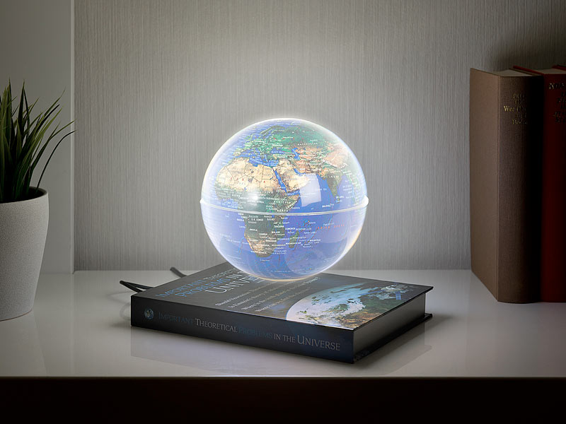 Utroligt infactory Weltkugel: Freischwebende Deko-Leuchte mit beleuchtetem ZP36