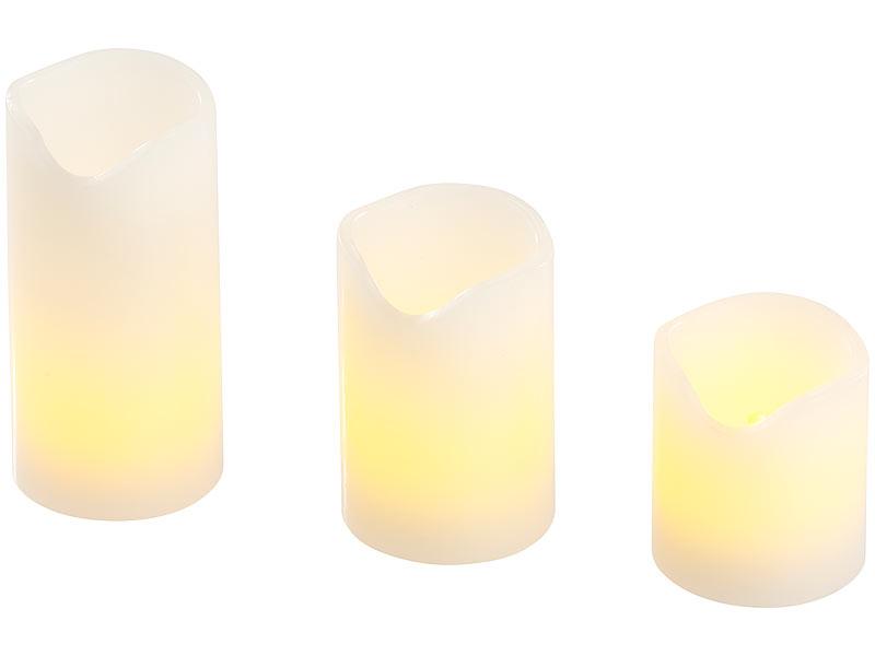 pearl led wachskerzen 3er set led kerzen echtwachs mantel flacker flamme batteriebetrieb. Black Bedroom Furniture Sets. Home Design Ideas