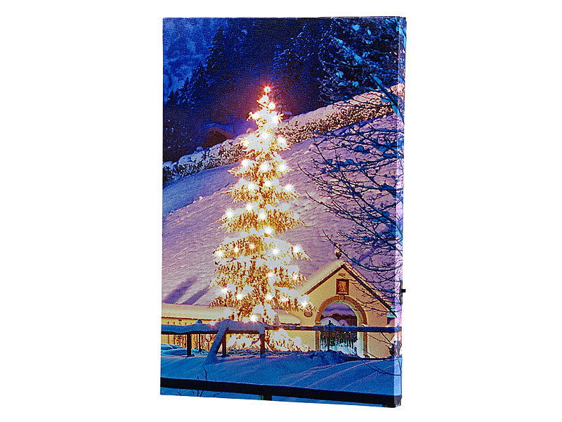 infactory led wandbild wandbild weihnachtsbaum vor bergdorf mit beleuchtung 20 x 30 cm led. Black Bedroom Furniture Sets. Home Design Ideas