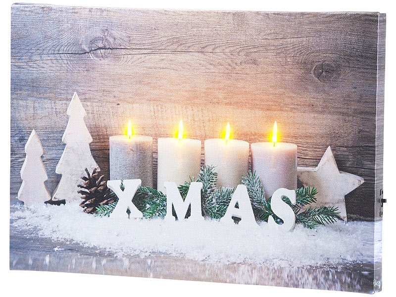 infactory led leinwandbild wandbild kerzen im schnee mit led beleuchtung 30 x 20 cm led. Black Bedroom Furniture Sets. Home Design Ideas