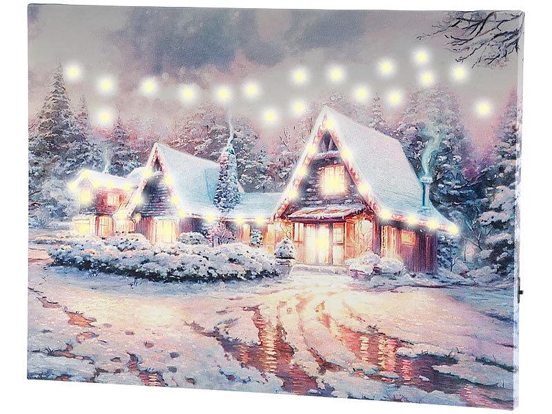 infactory led weihnachtsbilder wandbild winterdorf mit. Black Bedroom Furniture Sets. Home Design Ideas
