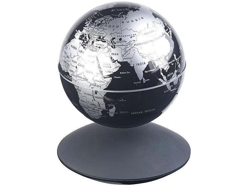 infactory schwebender globus freischwebender globus mit beleuchteter magnet schwebebasis 14. Black Bedroom Furniture Sets. Home Design Ideas