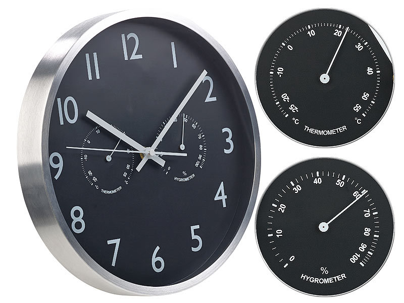 st leonhard 3in1 funk wanduhr mit thermometer hygrometer aus aluminium 30cm. Black Bedroom Furniture Sets. Home Design Ideas